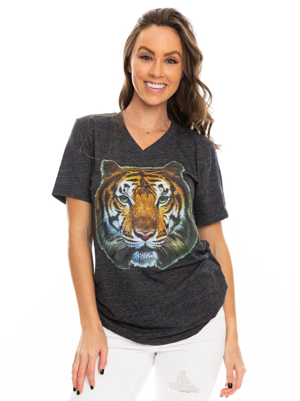 The Big Tiger V-Neck | Charcoal