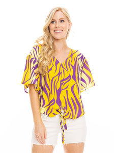 The Tie Front V-Neck | Purple + Yellow