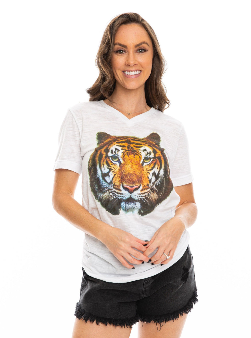 The Big Tiger V-Neck | White