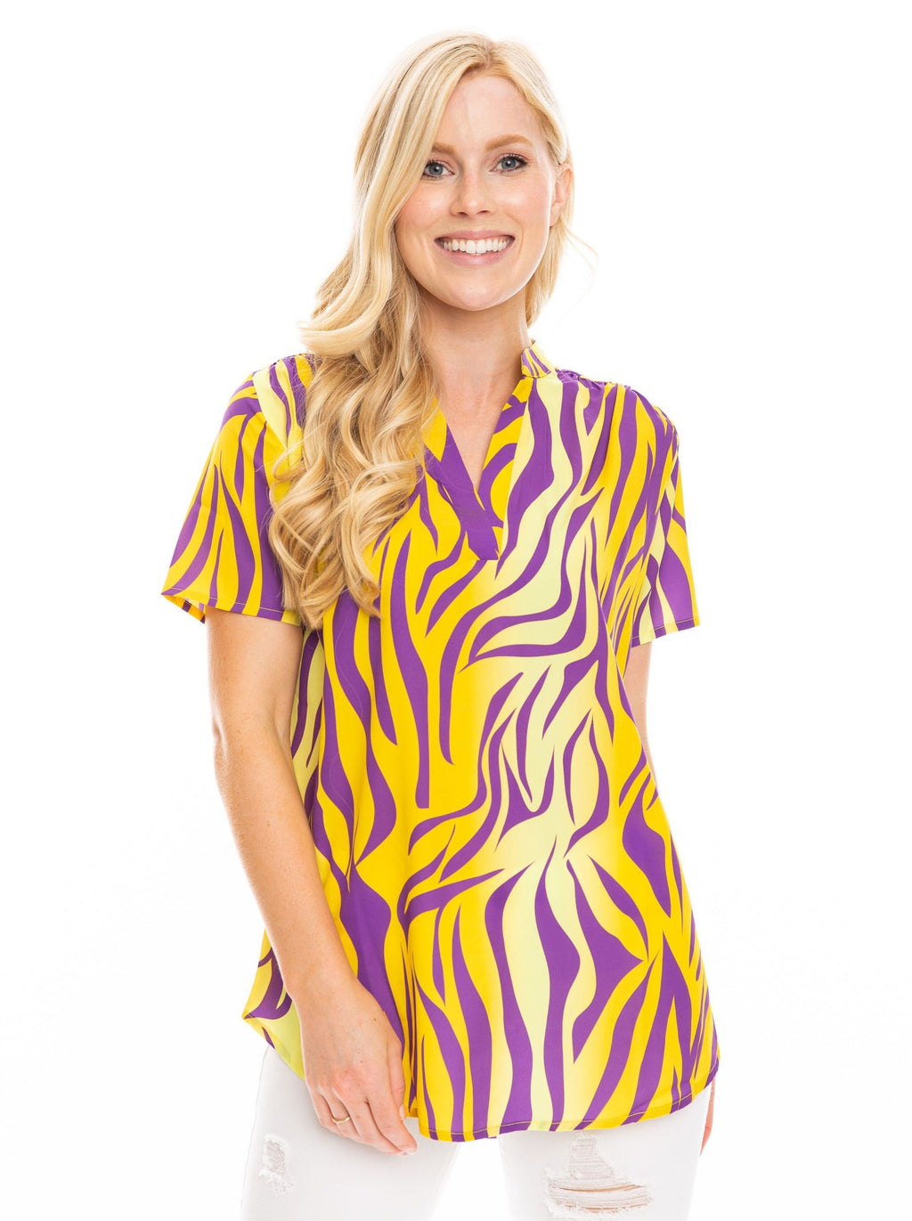The Tiger Print Blouse | Purple + Yellow