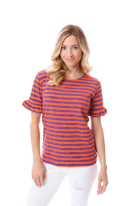 Orange + Purple | Ruffle Sleeve T