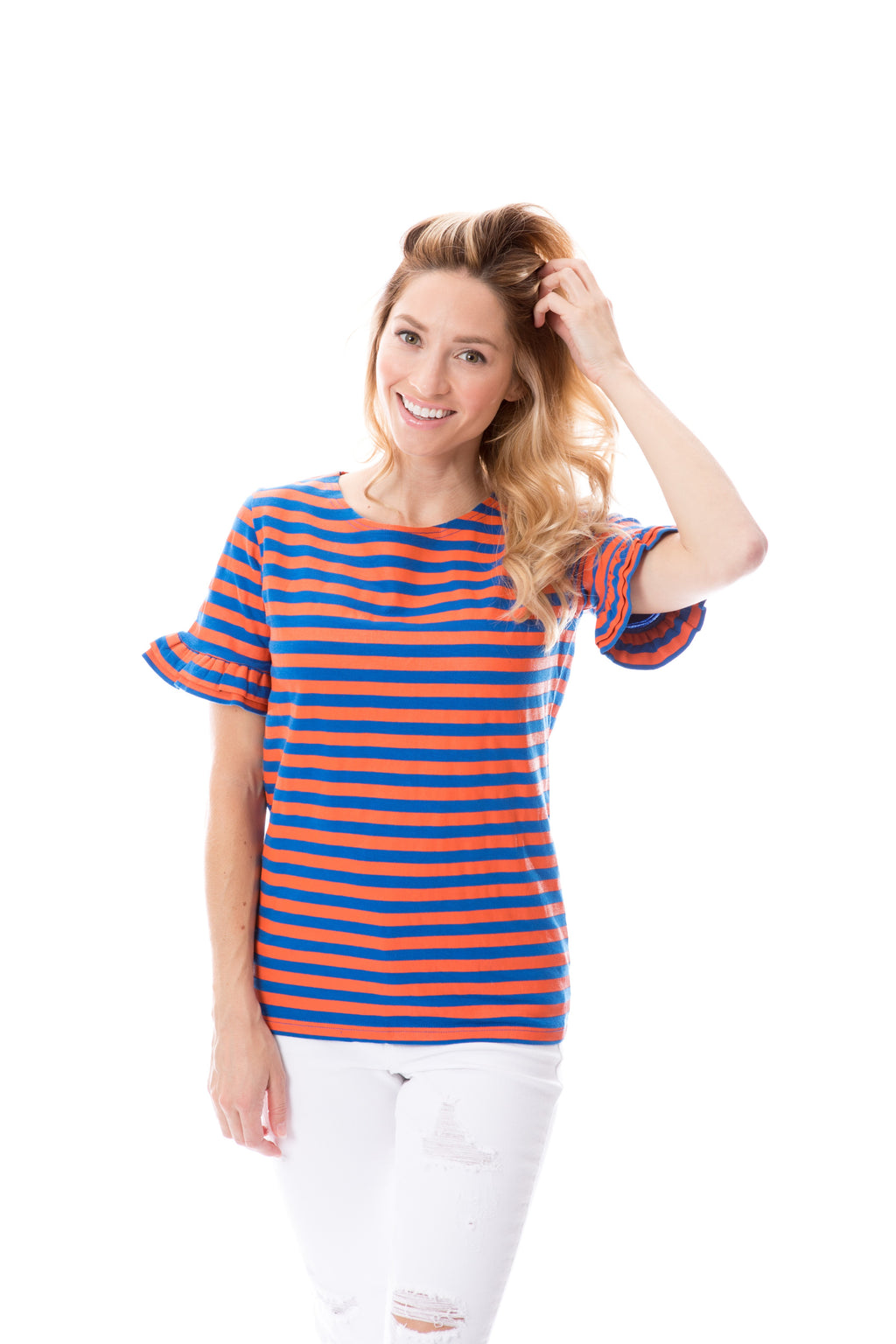 Blue + Orange | Ruffle Sleeve T