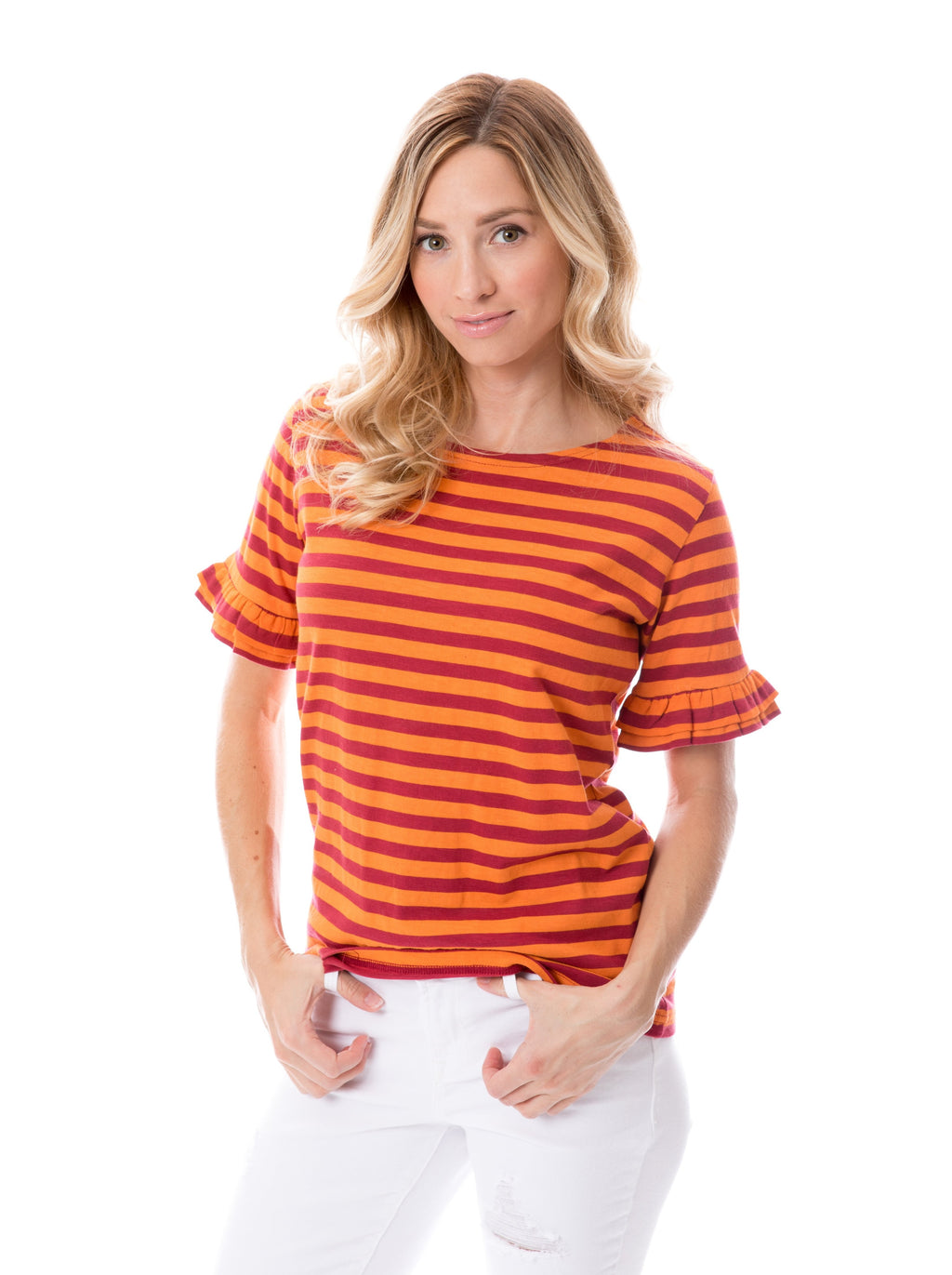 Maroon + Orange | Ruffle Sleeve T