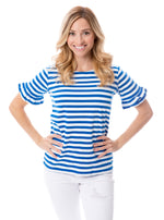 Blue + White | Ruffle Sleeve T