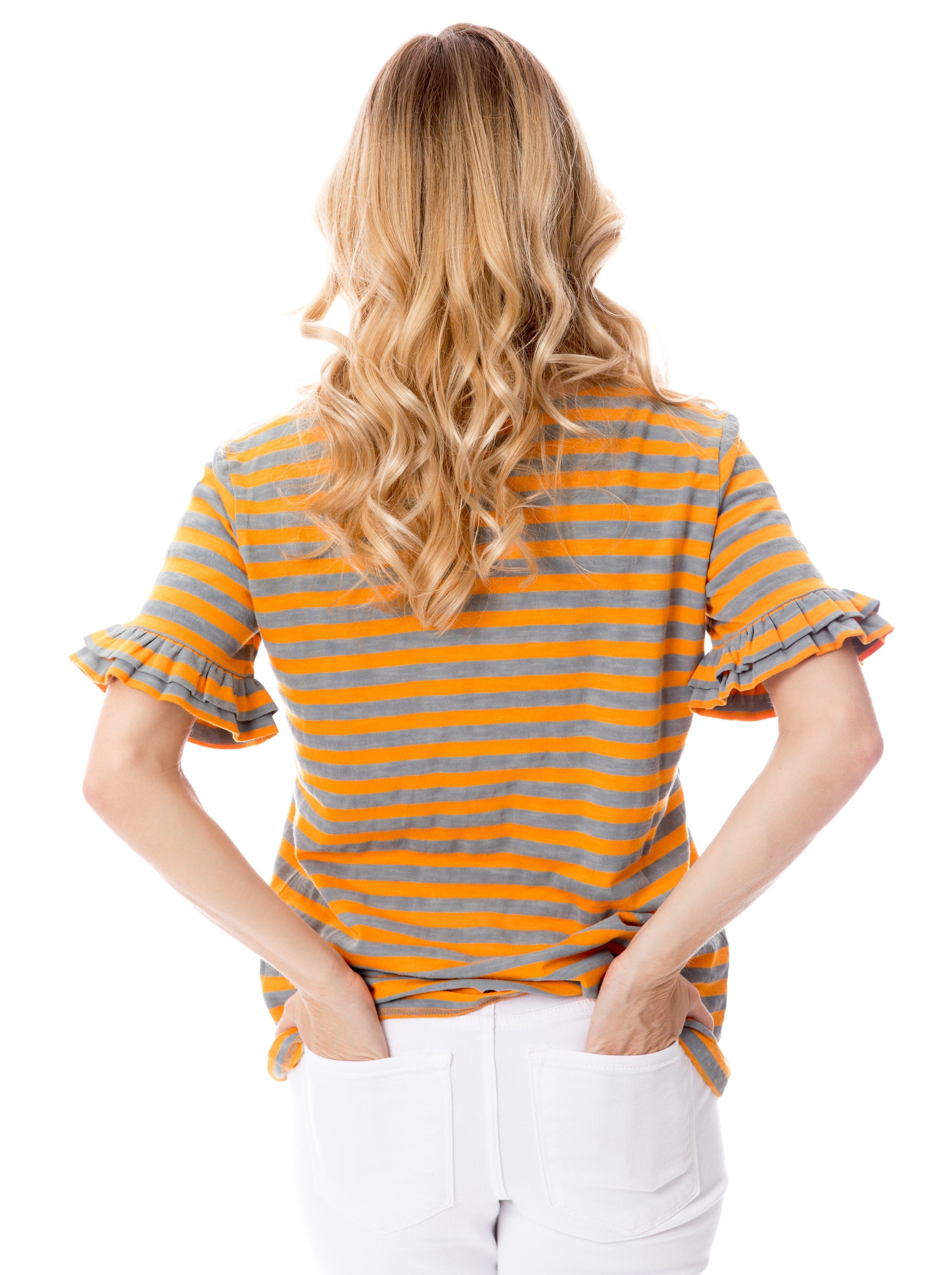 Orange + Gray | Ruffle Sleeve T
