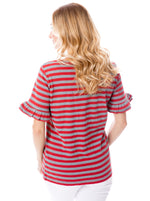 Crimson + Gray | Ruffle Sleeve T