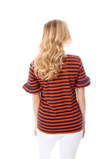 Navy + Orange | Ruffle Sleeve T