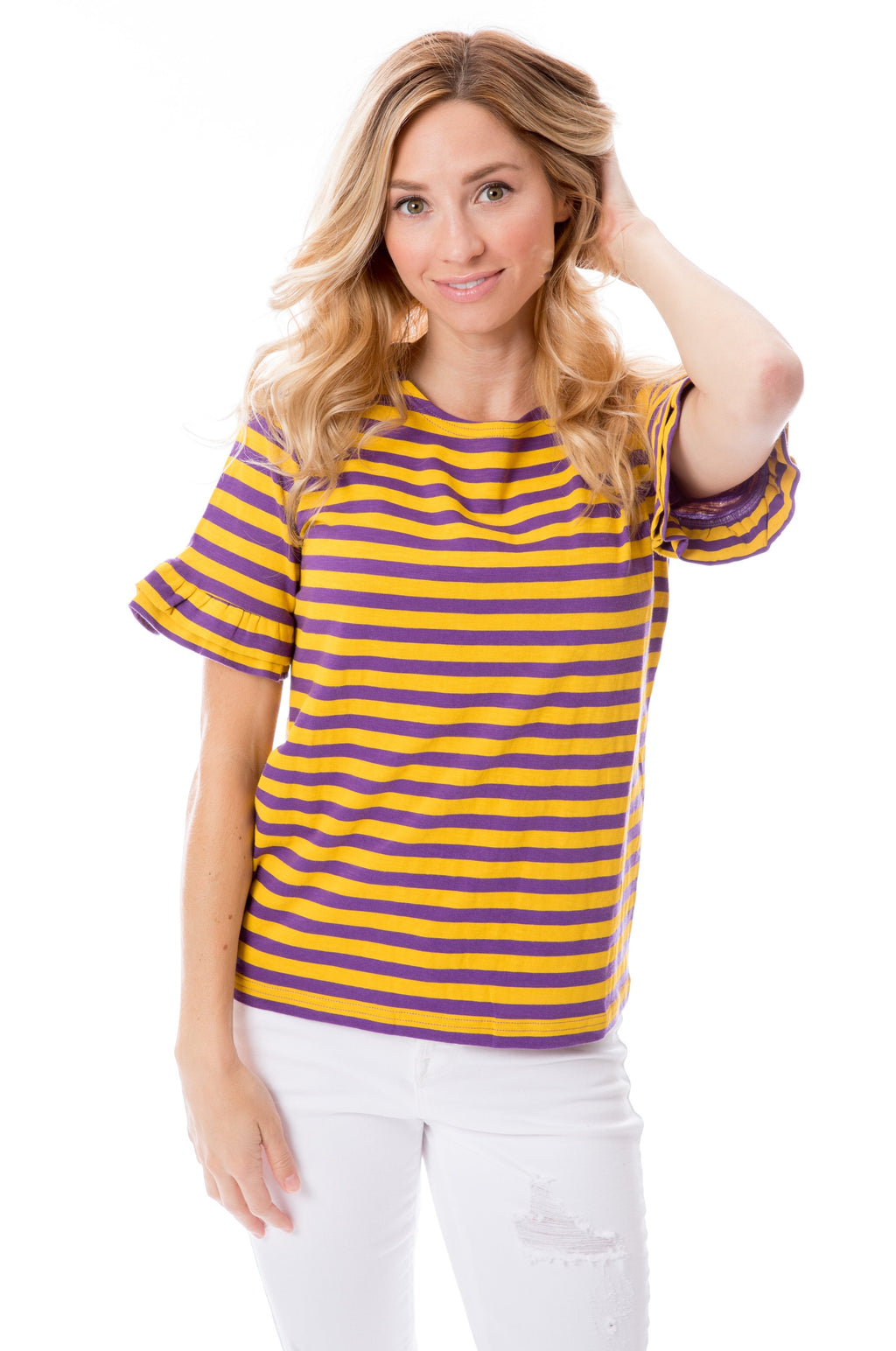 Purple + Gold | Ruffle Sleeve T