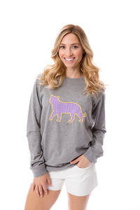 Tiger Applique | Long Sleeve | Purple + Gold