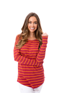 Maroon + Orange | Long Sleeve Tee