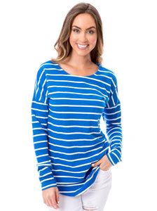Blue + White | Long Sleeve Tee