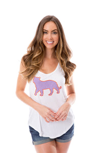 Tiger Applique | Tank | Purple + Orange