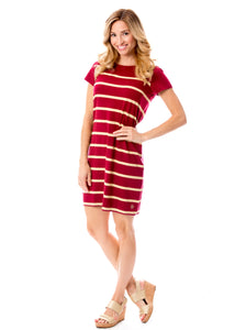 Short Sleeve Stripes | Dress | Garnet + Gold