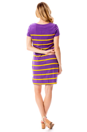 Short Sleeve Stripes | Dress | Purple + Gold