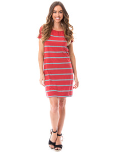 Short Sleeve Stripes | Dress | Crimson + Gray