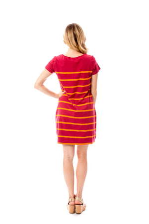 Short Sleeve Stripes | Dress | Maroon + Orange