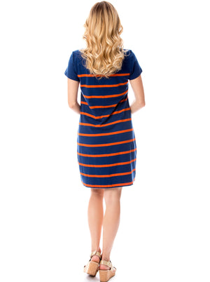 Short Sleeve Stripes | Dress | Navy + Orange