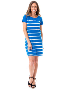 Short Sleeve Stripes | Dress | Blue + White