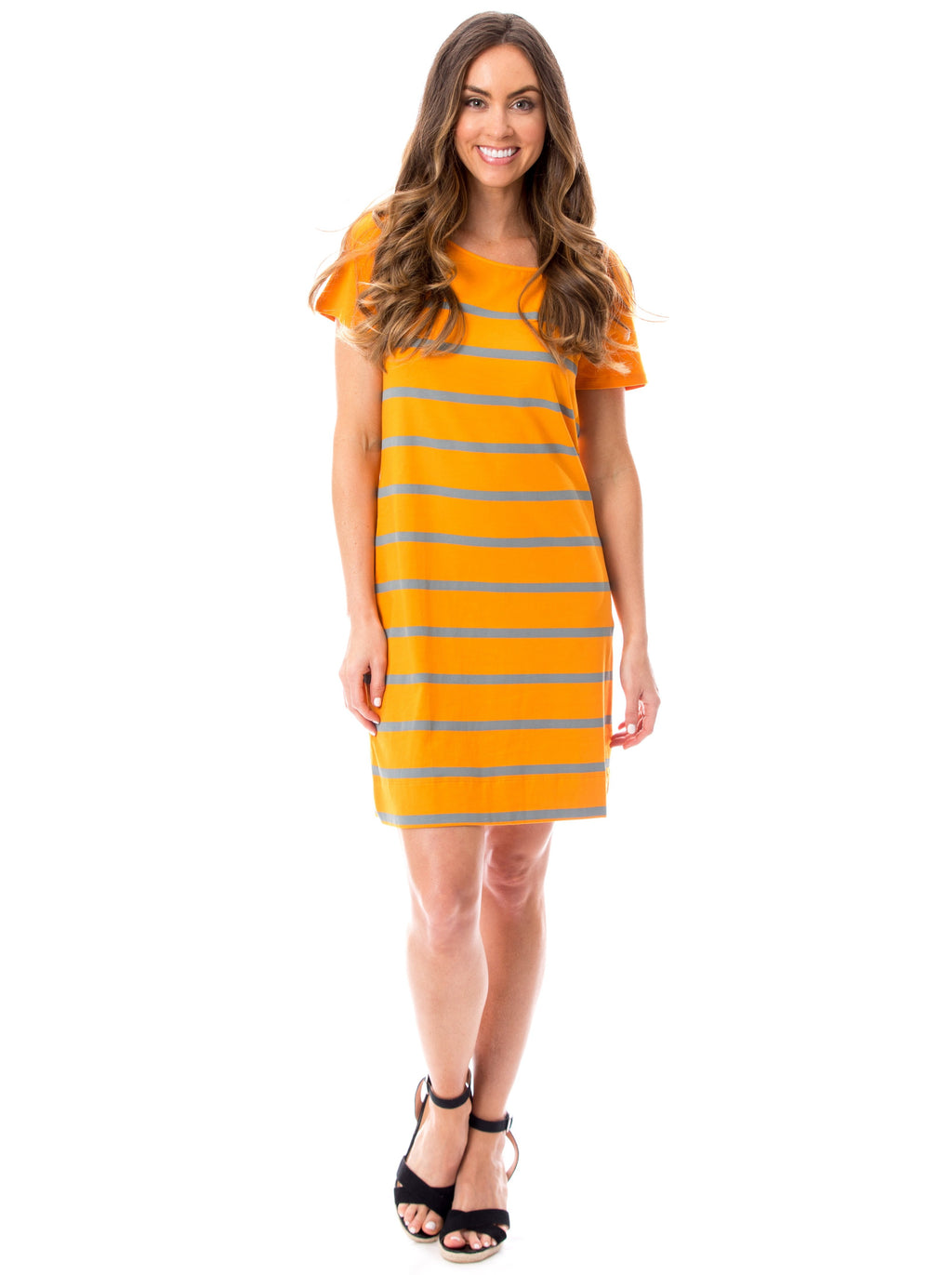 Short Sleeve Stripes | Dress | Orange + Gray
