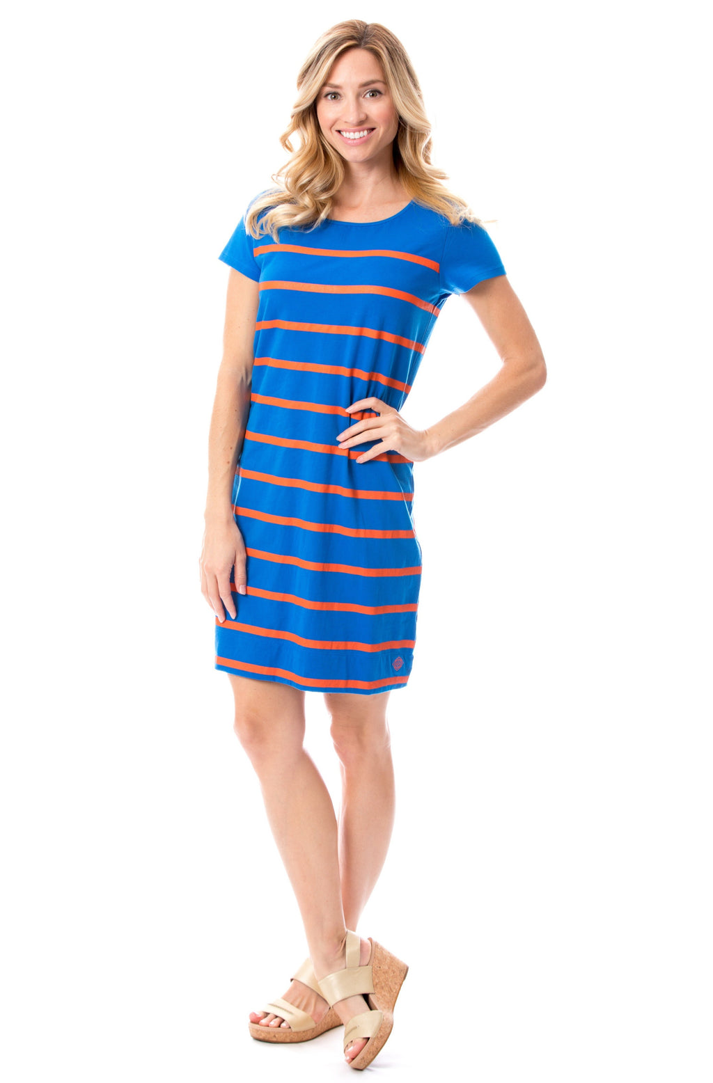 Short Sleeve Stripes | Dress | Blue + Orange