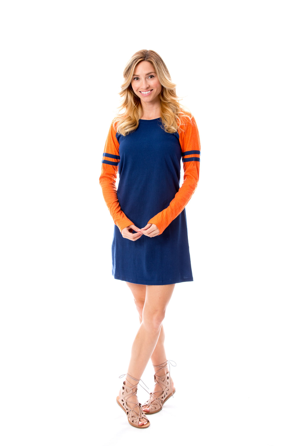 Varsity Dress | Navy + Orange
