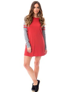 Varsity Dress | Crimson + Gray