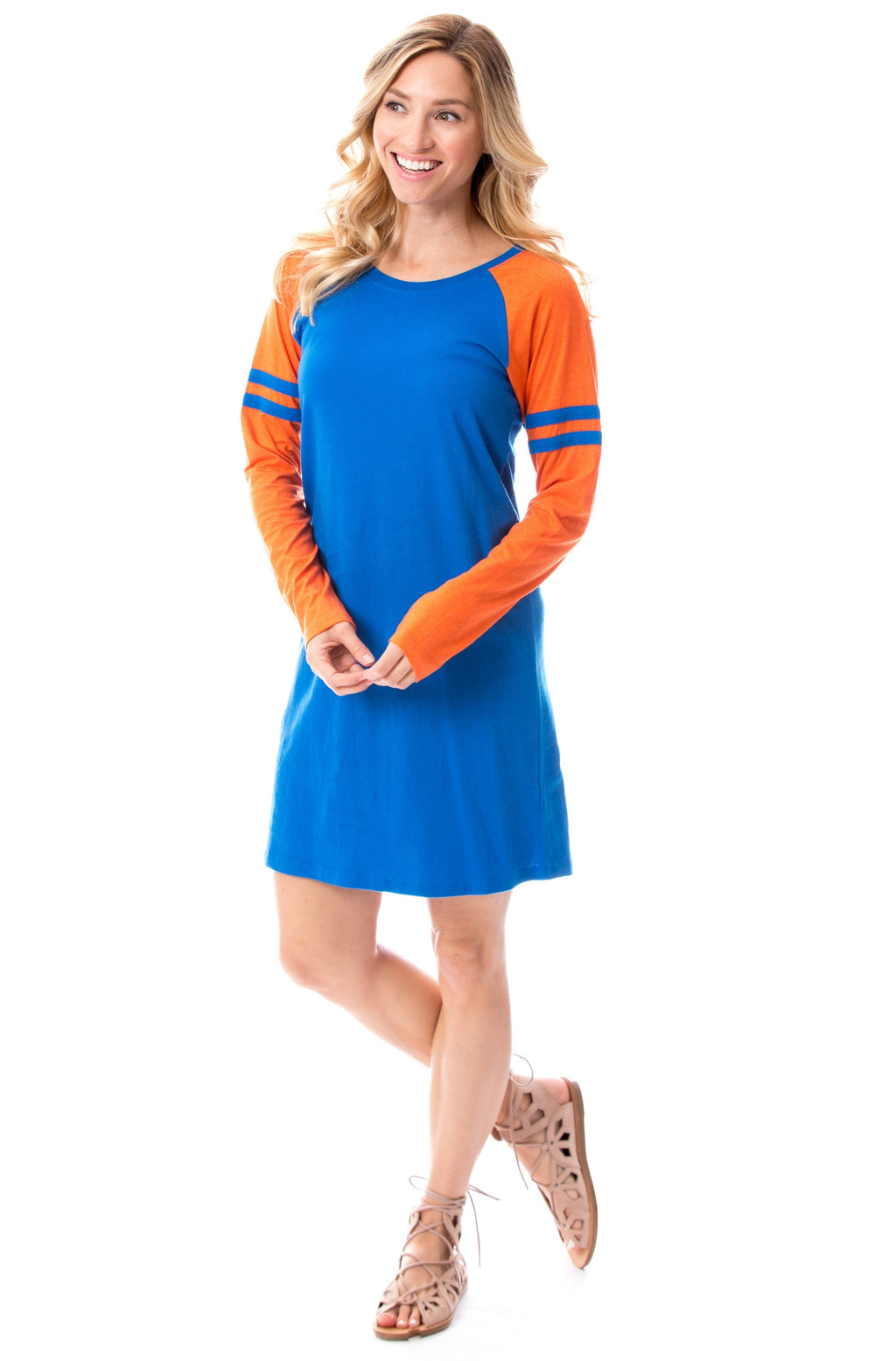 Varsity Dress | Blue + Orange