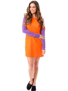 Varsity Dress | Orange + Purple