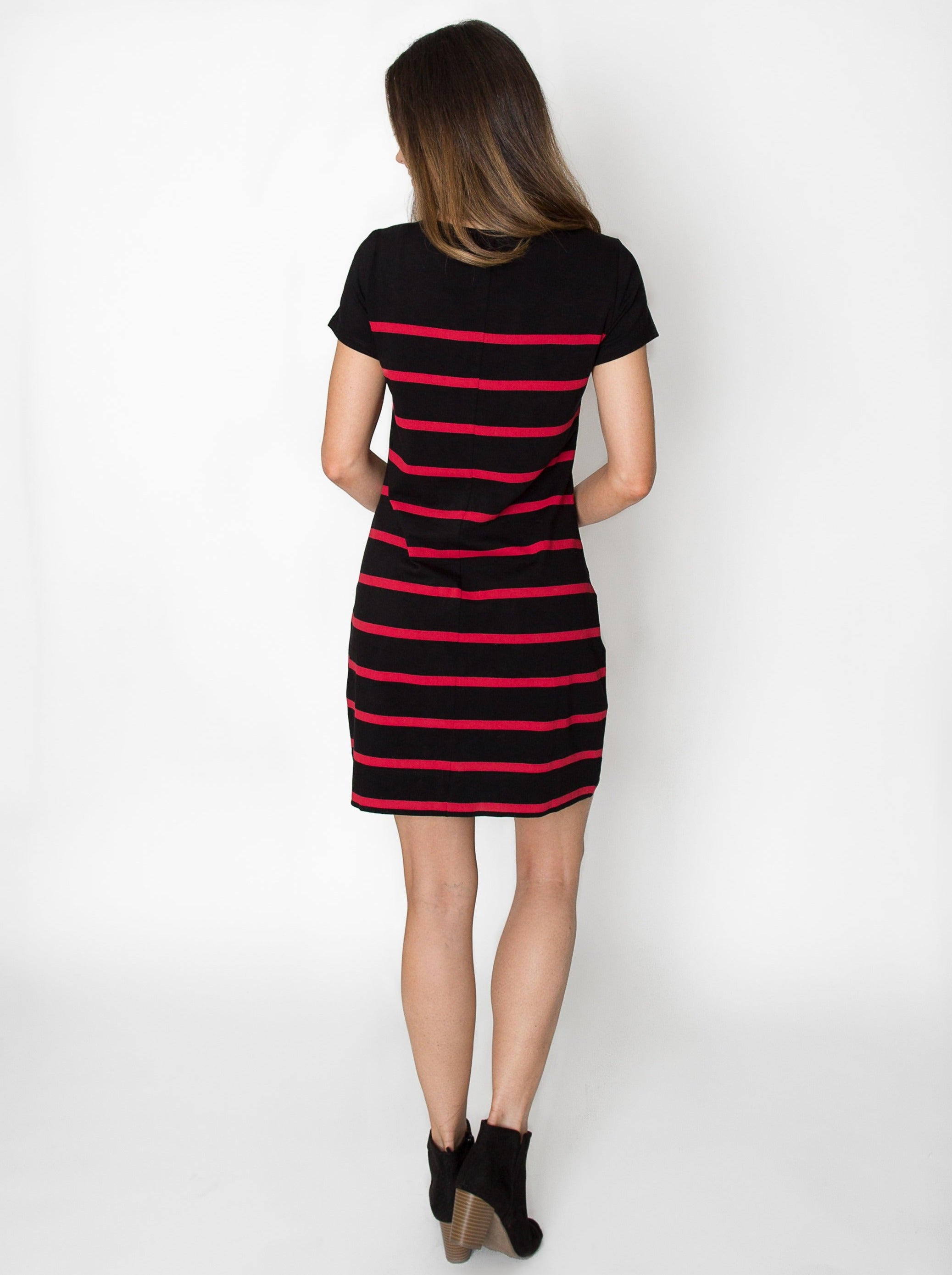 Short Sleeve Stripes | Dress | Red + Black