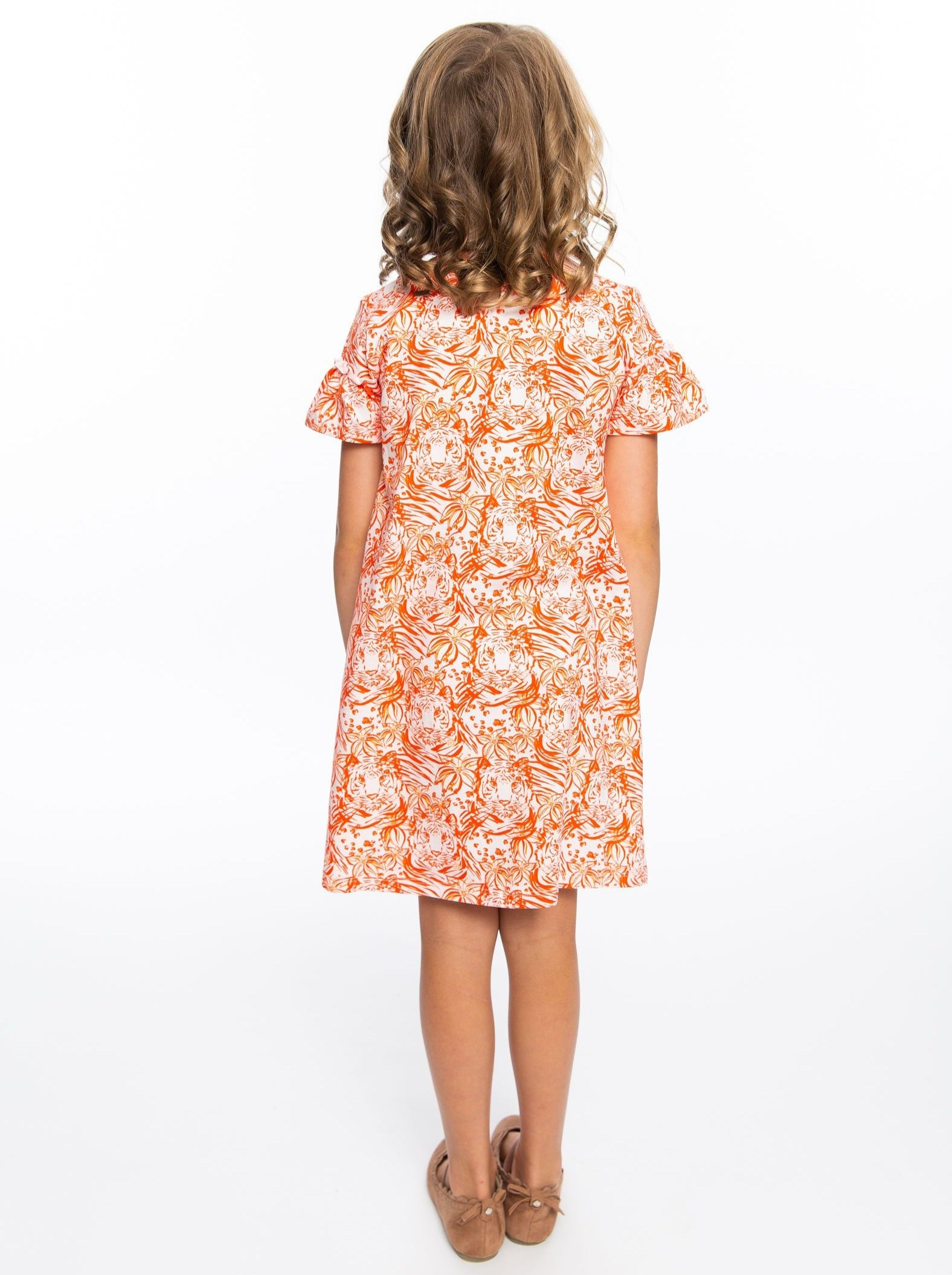 Girls Dress | Orange Tiger Print