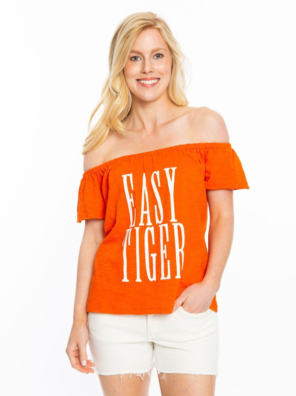 Easy Tiger | Orange Off the Shoulder Top