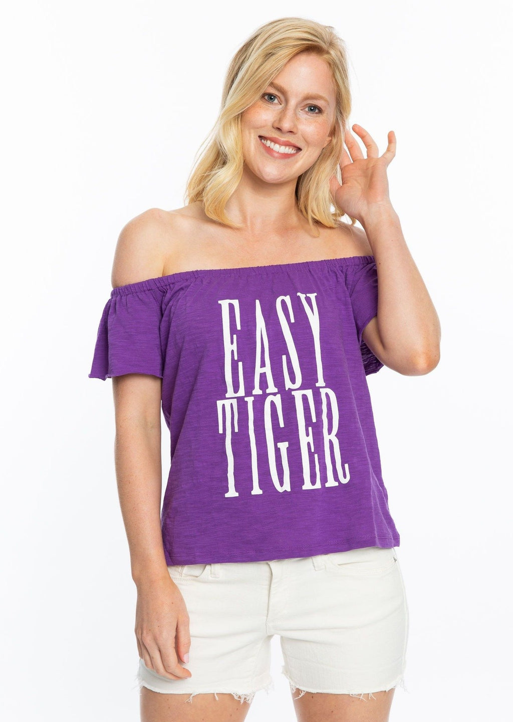 Easy Tiger | Purple Off the Shoulder Top