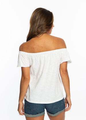 Sic 'Em | White Off the Shoulder Top