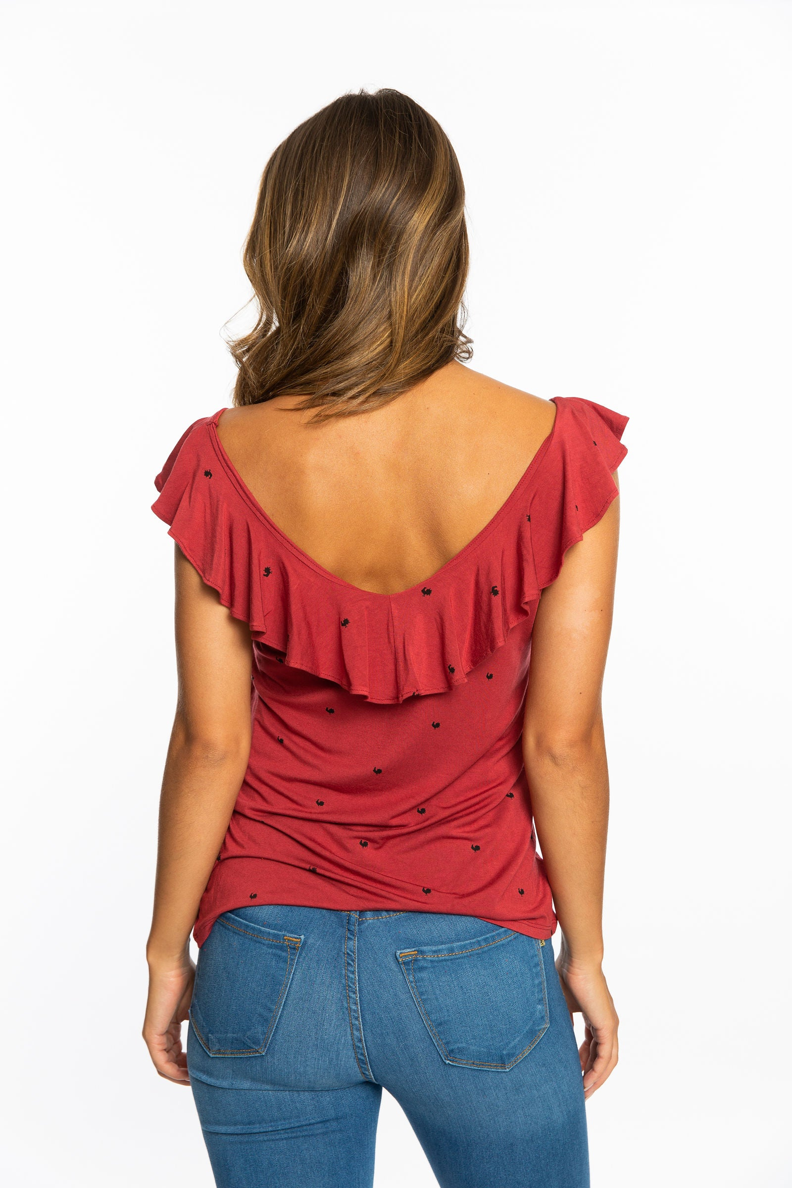 Ruffle V-Neck Top | Rooster