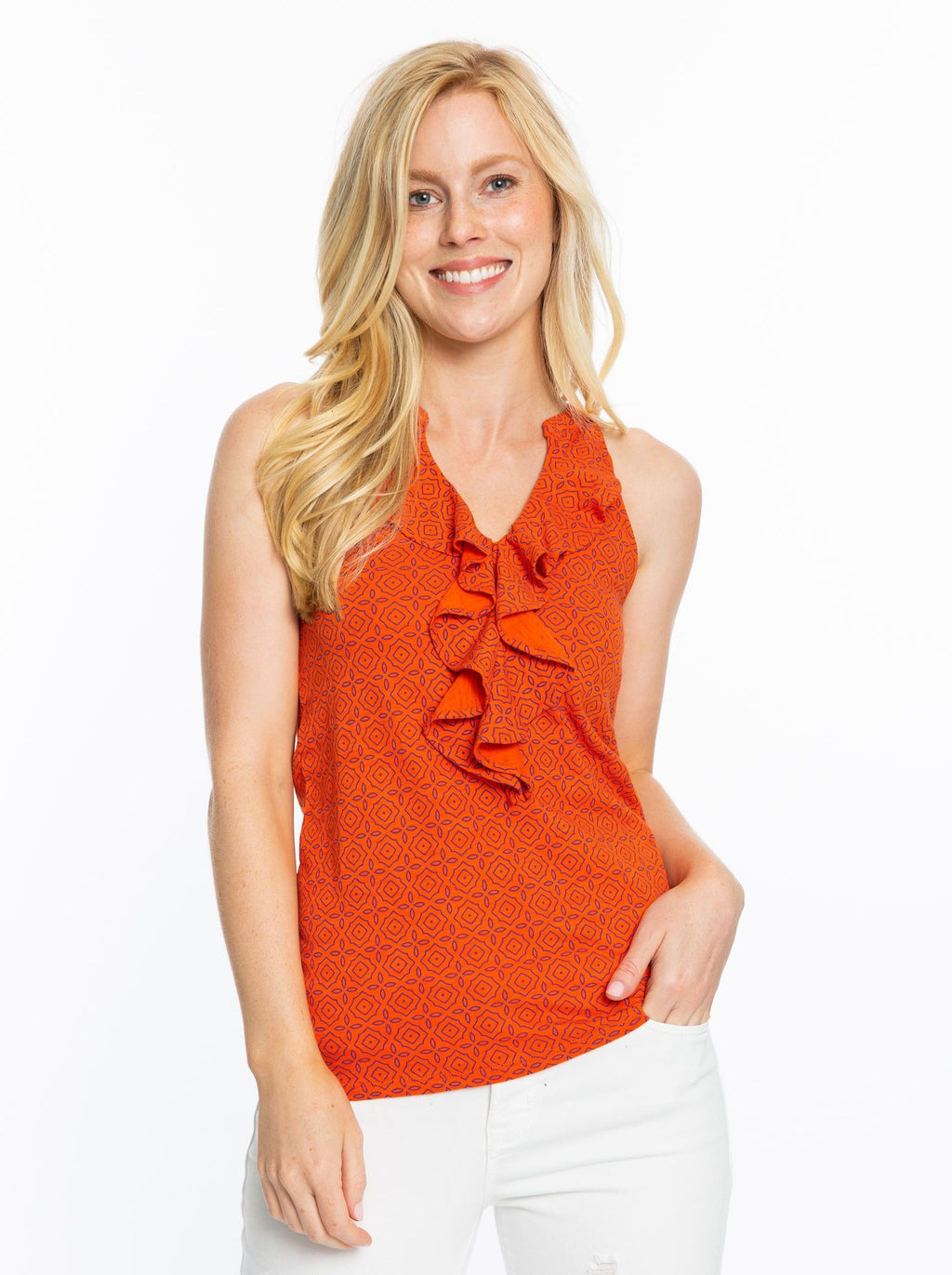 Ruffle Tank | Orange + Purple