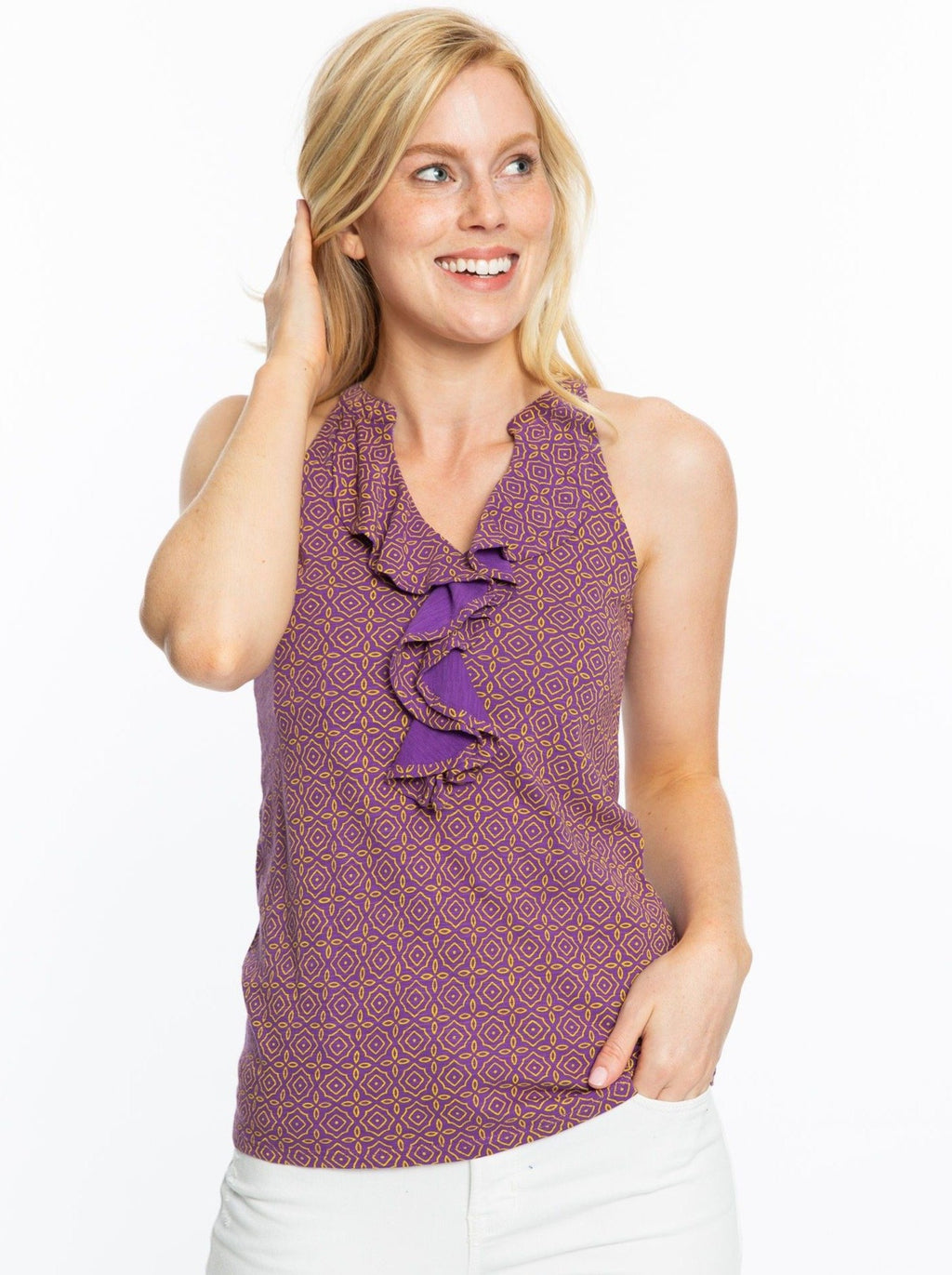 Ruffle Tank | Purple + Gold