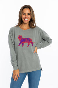 Oversized Long Sleeve | Purple + Orange Tiger
