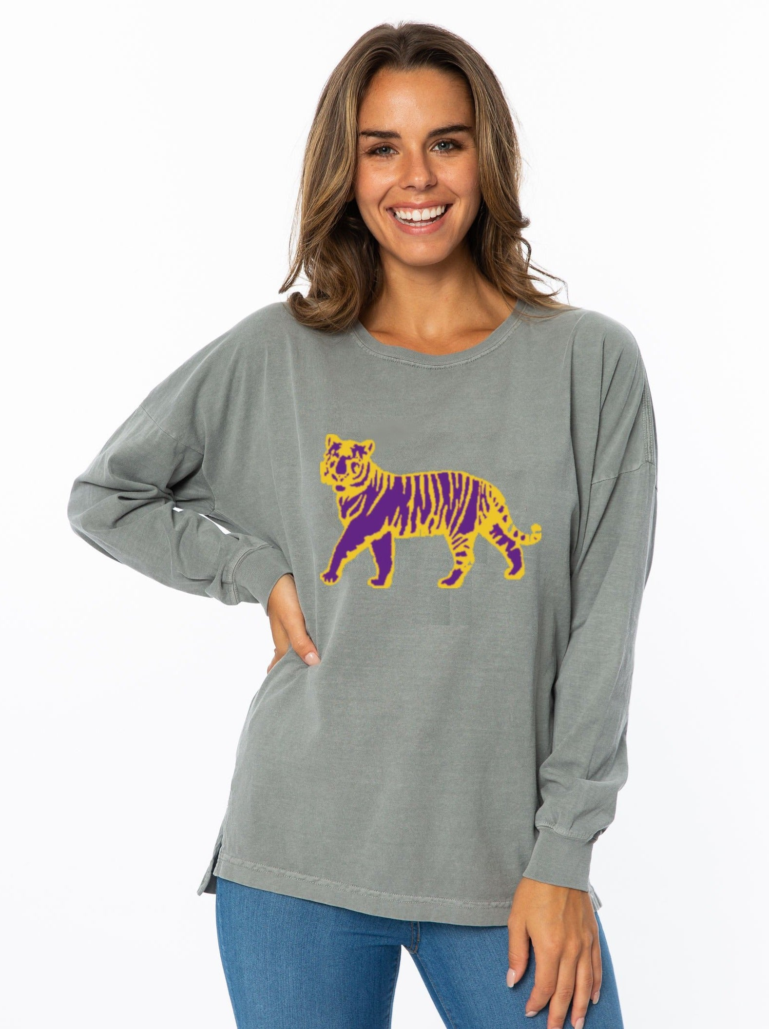 Oversized Long Sleeve | Purple + Gold Tiger