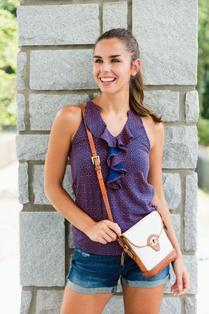 Ruffle Tank | Navy + Orange