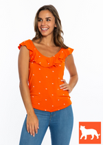Ruffle V-Neck Top | Orange Tigers