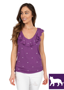 Ruffle V-Neck Top | Purple Tigers