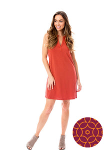Maroon + Orange | Shift Dress