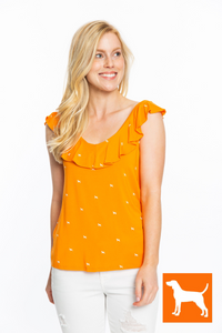 Ruffle V-Neck Top | Hounds