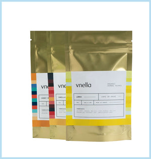 Image of vnella multi pack of organic smokable herbs including the vanilla, lemon and honey mint flavours