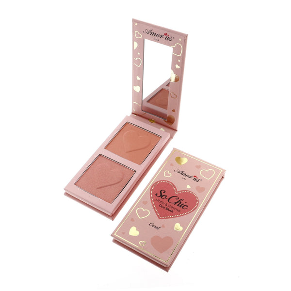 CORAL SO CHIC MATTE & SHIMMER DUO BLUSH - Amor Us