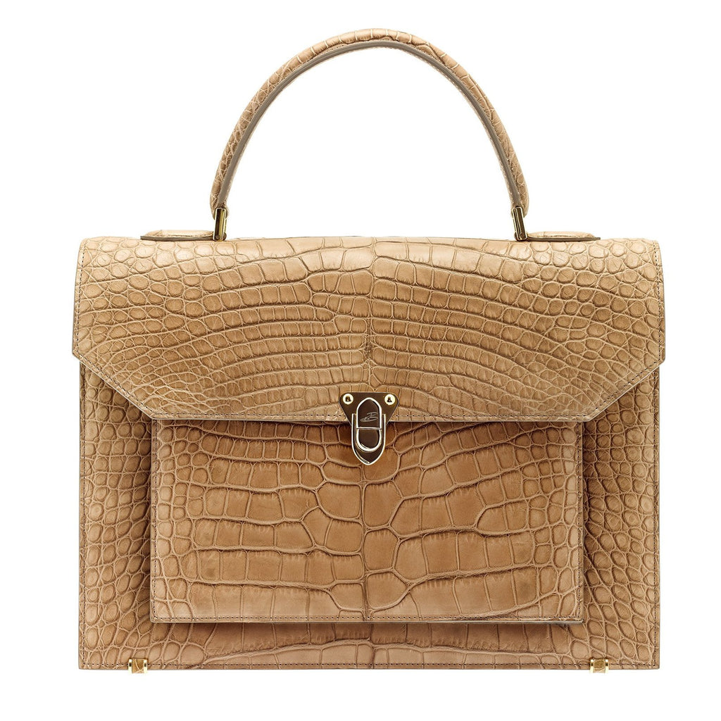 LADY Crocodile Beige Mat BAUDE PARIS