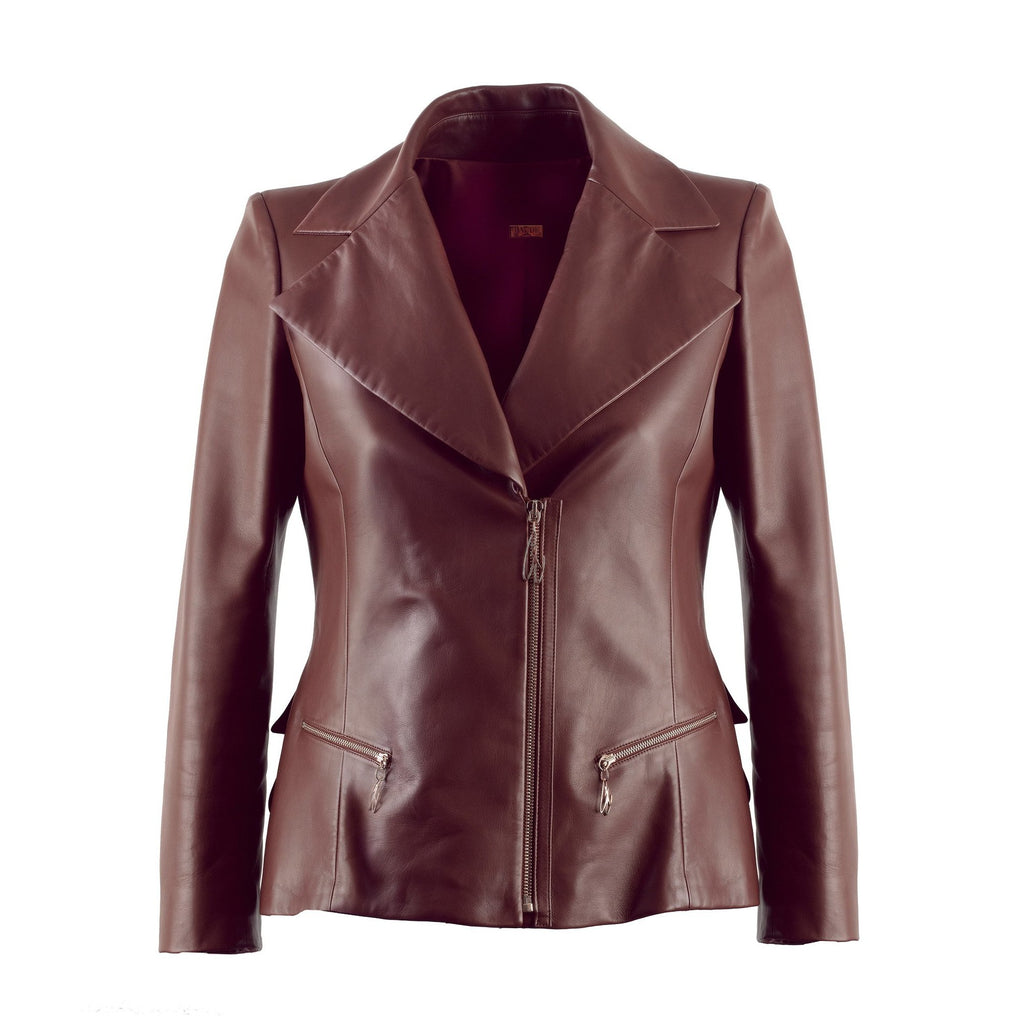 Veste Haute Couture LADY cuir marron BAUDE PARIS