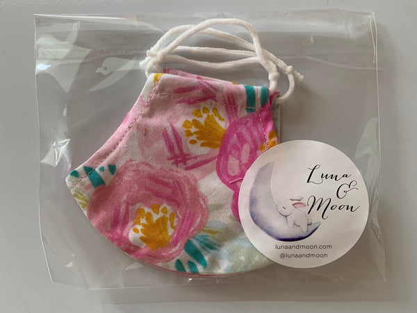 Pink Blooms Fabric Mask (Small)