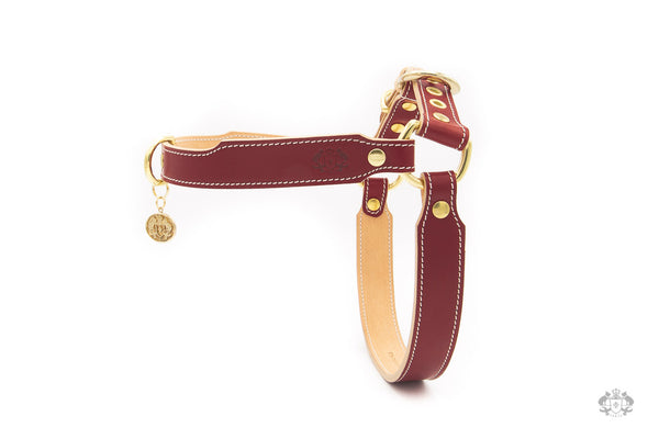 Chianti Maroon Leather Dog Harness