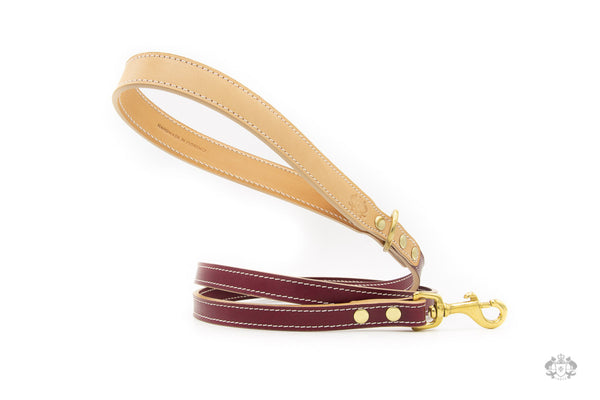 Chianti Maroon Leather Dog Leash front view